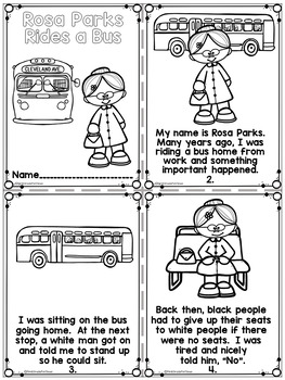 Rosa Parks Black History Month Activities by First Grade