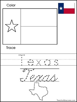 Texas Flag Coloring Page : texas, coloring, Texas, Color, Worksheets, Teaching, Resources