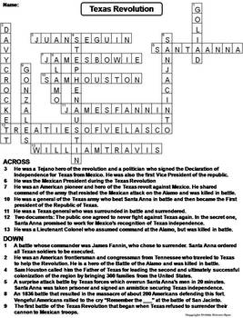 Texas Revolution Worksheet Crossword Puzzle By Science