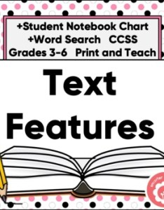Text features anchor chart and student reference by smarter teaching  also rh teacherspayteachers