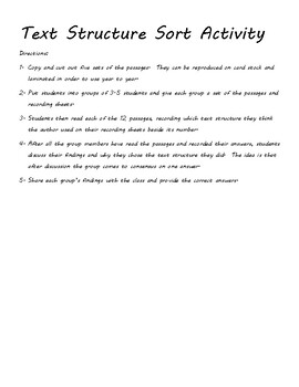 Text Structure Graphic Organizer, Sort Activity, and Pre