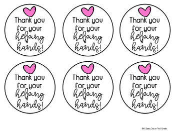 Thank You for Your Helping Hands Gift Tag by A Sunny Day