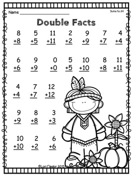 Thanksgiving Addition Strategies Printables by Lori