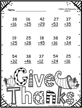 Thanksgiving Addition with Regrouping Printables by Lori