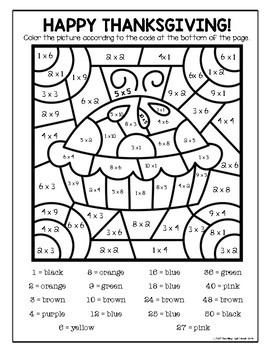 Thanksgiving Multiplication Color by Number by Teaching
