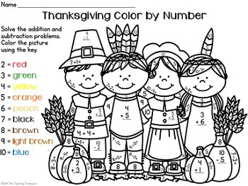 Thanksgiving Color by Number, Addition & Subtraction