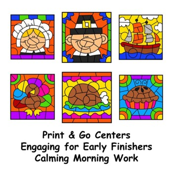 Thanksgiving Color by Sight Words BUNDLE First Second