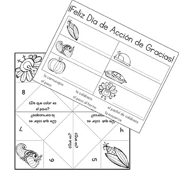 Thanksgiving Coloring Activities in Spanish by Fun for
