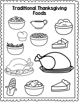 Thanksgiving Feast Coloring Cut n' Paste Activity