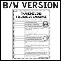 Thanksgiving Figurative Language Worksheet, November ...
