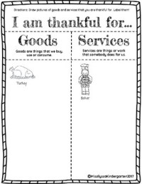 Thanksgiving Goods and Services Worksheet by Miss Ilyssa