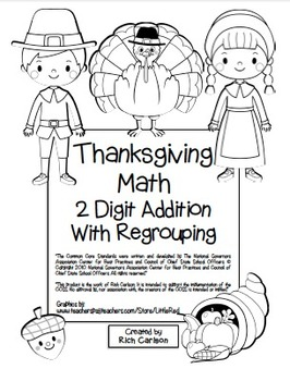"""""""Thanksgiving Math"""" 2 Digit Addition Regrouping Common"""