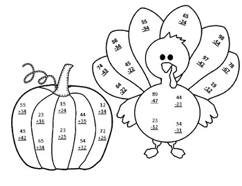 Thanksgiving Math CRAFT Double Digit Addition