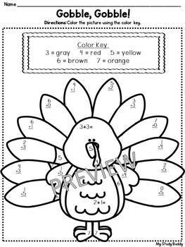 Thanksgiving Math: Color by Number Addition & Subtraction
