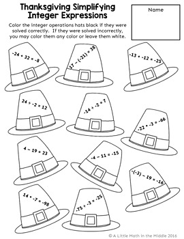 Thanksgiving Math Review Coloring Pages TEKS 6.2B, TEKS 6