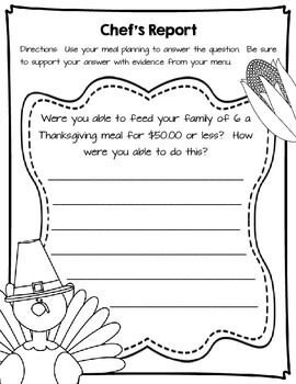 Thanksgiving Meal Project Based Learning by C is for Coach
