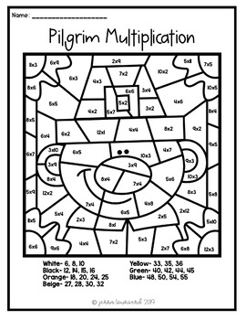 Thanksgiving Multiplication Division Color By Number by