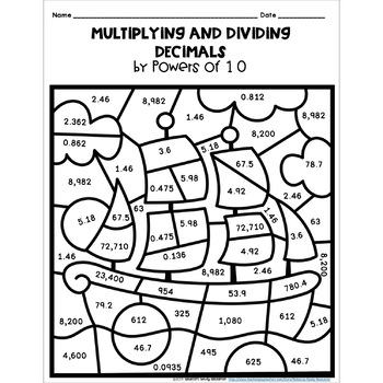 Thanksgiving Multiplying and Dividing Decimals by Powers