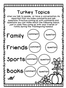 Thanksgiving NO PREP Speech and Language by Speechasaurus