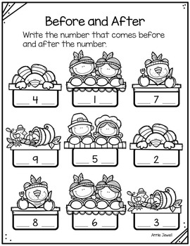 Thanksgiving and November Kindergarten Math Activities and