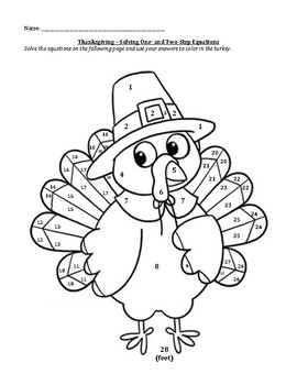 Thanksgiving One and Two Step Equations Turkey by Colleen