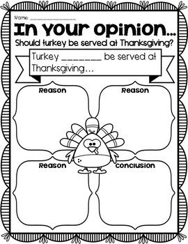 (((4 PAGES))) Thanksgiving Opinion Graphic Organizer