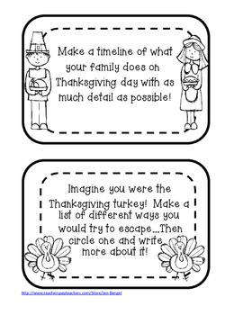 Thanksgiving Printable Writing Prompts in Color and Black