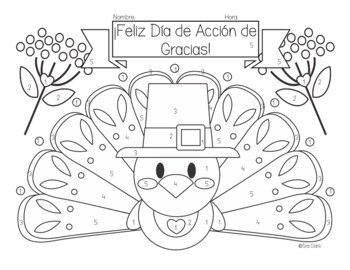 Thanksgiving Reading and Coloring Activity in Spanish by