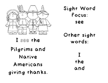 Thanksgiving Sight Word Emergent Reader by Meaghan