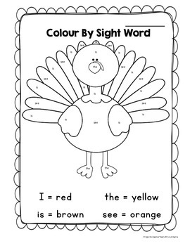 Thanksgiving Turkey Color By Sight Word Printable by Grade