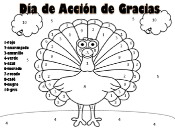 Thanksgiving Turkey Color by number in Spanish by Spanish