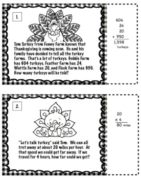 Thanksgiving Turkey Math Word Problems For 3rd Grade