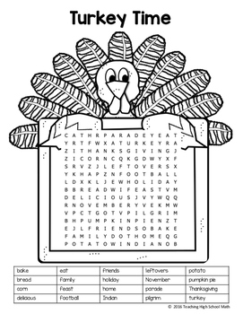 Thanksgiving Word Search Second Grade by Teaching High