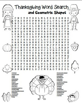 """Thanksgiving Word Search"" Thanksgiving Words & Geometric"