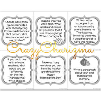 Thanksgiving Writing Prompts for 5th Grade by