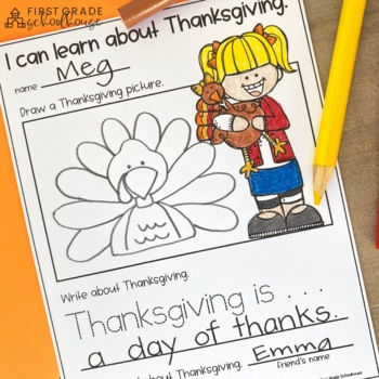 Thanksgiving Writing for Kindergarten by First Grade