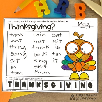 Thanksgiving Writing for Second Grade by First Grade