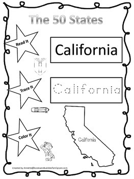 The 50 States Read it, Trace it, Color it Preschool