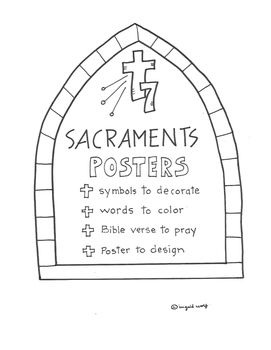 The 7 Sacraments Booklet with symbols, words, Bible verse