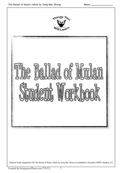 The Ballad of Mulan Student Workbook by Things You Will