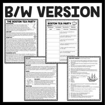 The Boston Tea Party Reading Comprehension Worksheet