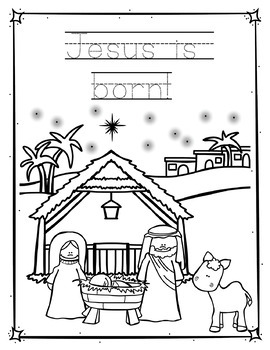 The Christmas Story Coloring Pages and Handwriting