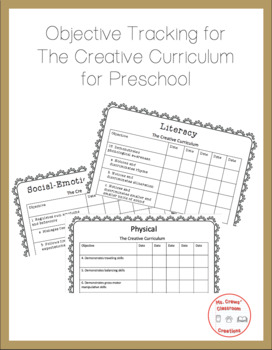 The Creative Curriculum Objectives Tracker by Ms Crews