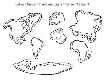 The Earth: Continents and Oceans cut & paste by Resources