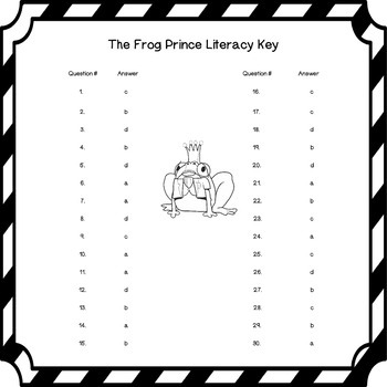The Frog Prince Fairy Tale Comprehension Questions in