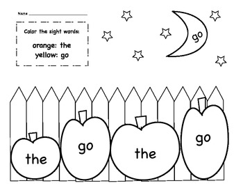 The & Go Sight Word Coloring Sheet by Kinder Learning