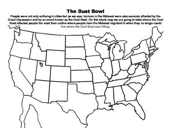 The Great Depression-Dust Bowl Map Exercise by The Roamin