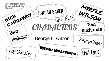 The Great Gatsby Flash Charts Group Review Game/Activity