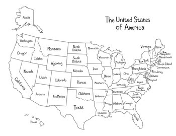 US Geography Activity by To the Square Inch- Kate Bing