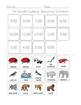 The Grouchy Ladybug Sequencing Worksheet By Differently